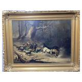 Antique 19th Century Oil on Board Frame 40x32