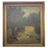 Folk Art Oil Painting Circa 1900-1910 Framed 21X23