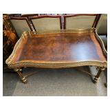 Vintage Brass & Wood Coffee Table 48x30x23