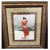 Woman on Beach print by Pino Framed 37x33