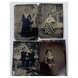 4-Antique Tin Type Photographs