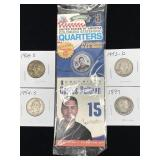 4-Silver Quarters & 1-Colored