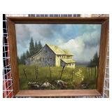 Barn Landscape Signed AuClaire 27X23 Framed