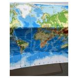 Shower Curtain & Hooks of the World Map