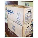 Antique egg crate boxes.