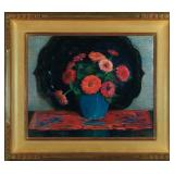 Lot 36.  Josephine Miles Lewis Am. 1865-1959 Red Flower Still Life $2,000 - $3,000