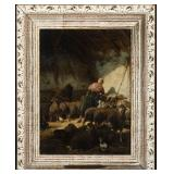 Lot 4.   Charles Emile Jacques Fr. 1813-1894 Tending the Sheep $1,800 - $2,400