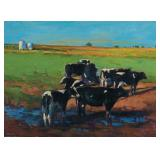 Lot 68.  Stephen Brown Am. 1950-2009 Eight Cows $3,000 - $5,000