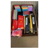 Flat of misc office supplies