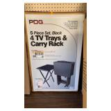 PDG 5 piece set, black 4 TV trays & carry rack