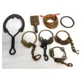 lot of 8 jerk line rings, horseshoe trivet & other