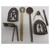 lot of 7 iron trivets, ice cream can lifter & othe
