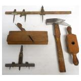 lot of 5 wood & metal tools some measuring