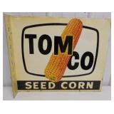 Two sided Tomco seed corn metal sign