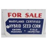 two sided Hybrid seed corn for sale metal sign