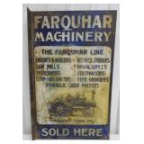 two sided Farquhar Machinery metal sign