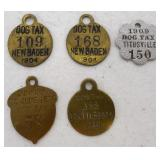 lot of 5 asst dog licenses 1900