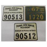 3 metal PA Hunter licenses 1936 & 1938