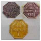 lot of 3 Ephrata garbage & rubbish tags