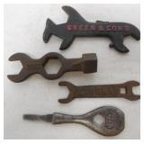 lot of 4 wrenches Green & Sons, Eureka others