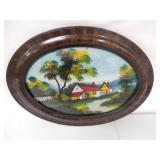 Oval Reverse Painted Picture