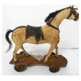 Wooden Pull Toy Hand Carved Horse