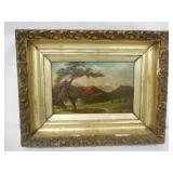 Oil on Canvas Mountain Scene Signed