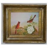 Oil on Canvas Cardinals Signed C.I. Richardson