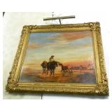 Oil Painting Horses Unsigned