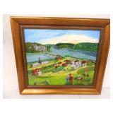 Oil on Canvas Village Scene Signed
