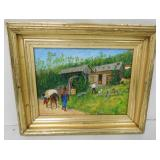 Oil on Canvas Country / People Signed