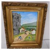 Oil on Canvas Country/ Village Signed