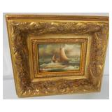 Oil on Board Painting Ships Signed A. Hess