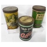 Lot of 3 Vintage Coffee Tins