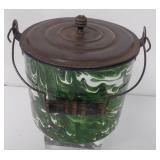Graniteware Green Swirl Pail with Lid