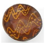 Contemporary Decorated Redware Bowl Unsigned