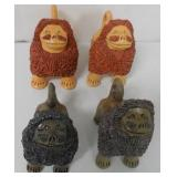 Lot of 4 Pottery Foo Dogs Only 1 is Signed