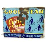 Porcelain Goodyear Cycles,Tyres,Tubes Sign