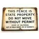 Porcelain California Dept of Public Works Sign