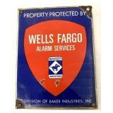 Porcelain Wells Fargo Alarm Services Sign