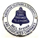 Porcelain AT&t Long Distance Phone Sign