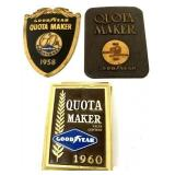 Lot of 3 Goodyear Quota Maker Plaques