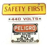 Lot of 3 Porcelain Signs,Safety First Doubleside