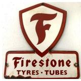 Porcelain Firestone Tyres Tubes Sign