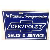 Tin Chevrolet Double-sided Sales &Service sign