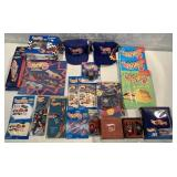 lot of 15+ Hot Wheels items, hats, books, others