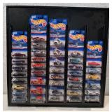 Hot Wheels display w/ 39 1999 1st Edition cars