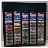 Hot Wheels display w/ 40 1998 1st Edition cars