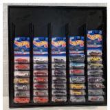 Hot Wheels display w/ 36 2000 1st Edition cars
