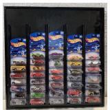 Hot Wheels display w/ 36 2001 1st Edition cars